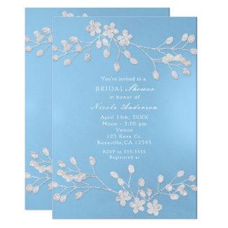 Cartão Chás de panela florais brancos do azul do ramo