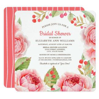 Cartão Chás de panela florais cor-de-rosa corais