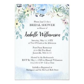 Cartão Chás de panela florais da aguarela azul