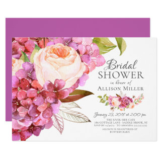 Cartão Chás de panela florais do rosa do Hydrangea