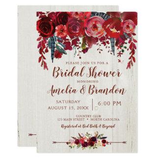 Cartão Chás de panela florais vermelhos de Borgonha Boho