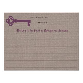 Cartão chave da receita do coração convite 10.79 x 13.97cm