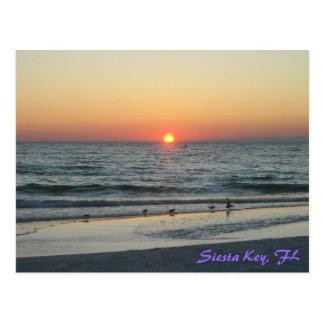 Cartão chave do por do sol de Florida do Siesta
