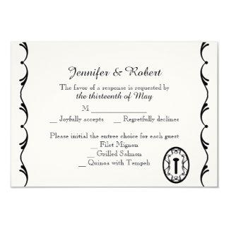 Cartão chave preto e branco da resposta do convite 8.89 x 12.7cm