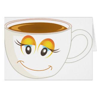 Cartão Chávena de café de sorriso - fêmea