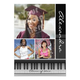 Cartão Chaves do piano da música, graduação da foto