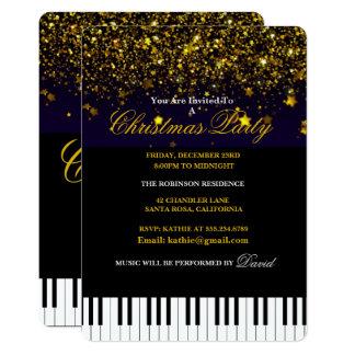 Cartão Chaves do piano & festa de Natal do brilho do ouro