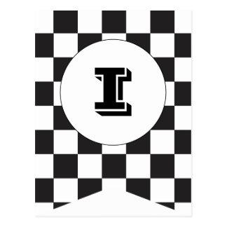 Cartão Checkered preto da bandeira da estamenha da