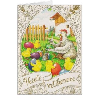 Cartão checo/eslovaco do vintage de páscoa