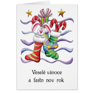 Cartão Checo - meia do Natal com coelho e presentes -