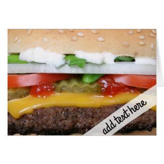 Cartão cheeseburger delicioso com fotografia das