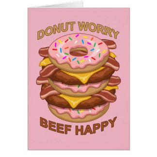 Cartão Cheeseburger feliz do bacon da carne engraçada da
