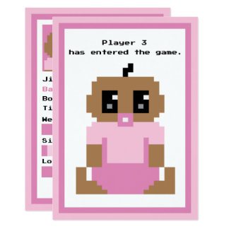 Cartão Chegada étnica incorporada do bebé do jogo do