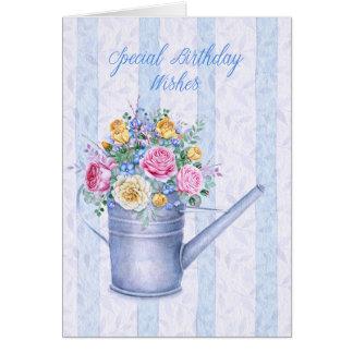 Cartão Cheio da lata molhando de feliz aniversario das