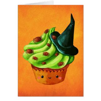 Cartão Cheio do cupcake do Dia das Bruxas de aranhas