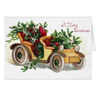 Cartão Cheio do Roadster do natal vintage do visco