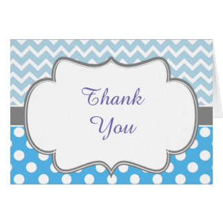 Cartão Chevron e obrigado azuis e cinzentos dos pontos