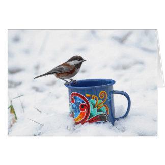 Cartão Chickadee na neve