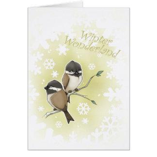 Cartão Chickadees do país das maravilhas do inverno