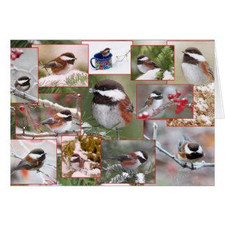 Cartão Chickadees na colagem do inverno