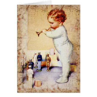 Cartão Chifre de sopro do bebé do Redhead aos soldados