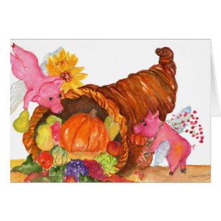 Cartão Chifre do Cornucopia da acção de graças dos porcos