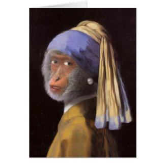 Cartão Chimpanzé com o brinco da pérola