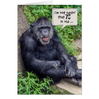 Cartão chimpanzé humor-para o aniversário do 70