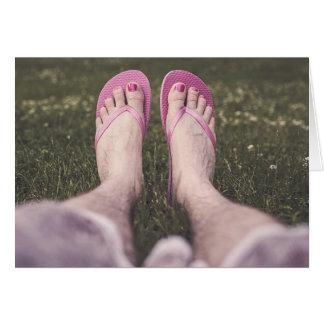 Cartão Chinelos cor-de-rosa