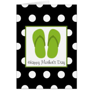 Cartão Chinelos/dia das mães verdes das bolinhas