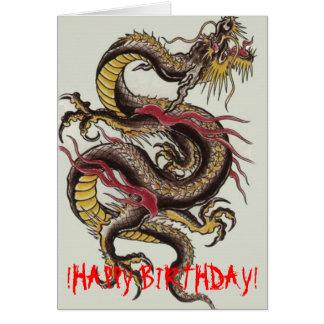 Cartão chinês-dragão-preto! FELIZ ANIVERSARIO!