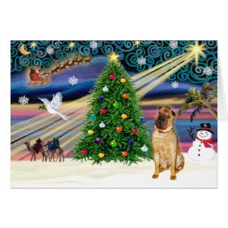 Cartão Chinês mágico Shar Pei do Natal (jovem corça)