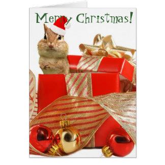 Cartão Chipmunk do Feliz Natal