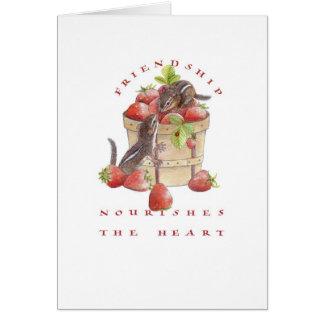 Cartão Chipmunks dos namorados/morango