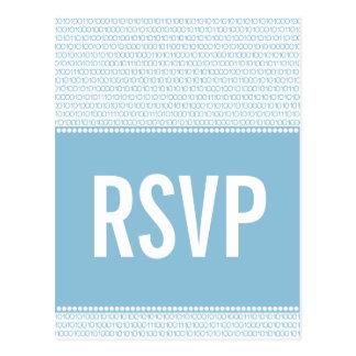 Cartão chique do código binário RSVP do geek, azul