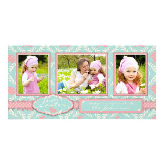 Cartão chique do trio da foto do coelho cartoes com foto