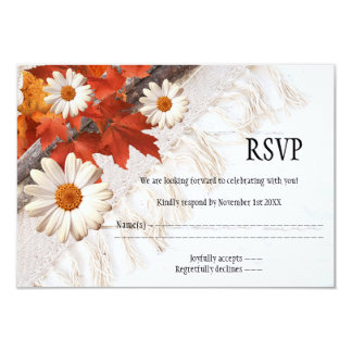 Cartão chique floral do casamento outono RSVP