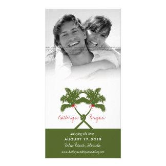 Cartão Chique moderno do casamento tropical da praia das
