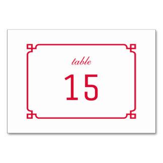 Cartão chique vermelho da mesa de Deco