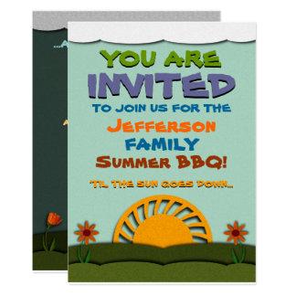 Cartão CHURRASCO do verão do dia e da noite/convites da