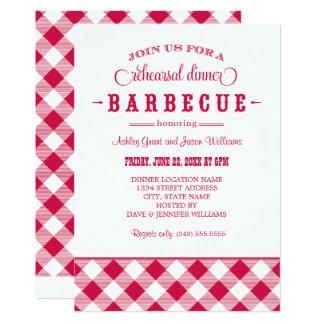 Cartão CHURRASCO ocasional vermelho do jantar de ensaio |