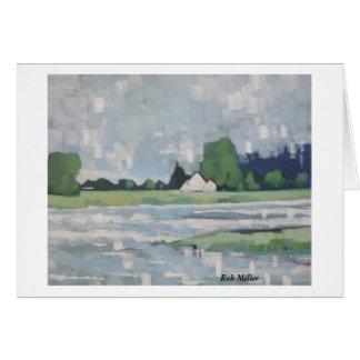 Cartão Chuva do verão no rio Ribble Lancashire