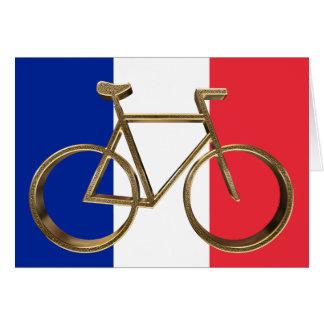 Cartão Ciclista dourado do ciclismo da bicicleta da