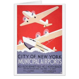 Cartão Cidade de aeroportos do Municipal de New York