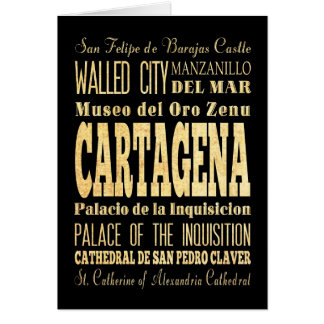 Cartão Cidade de Cartagena da arte da tipografia de