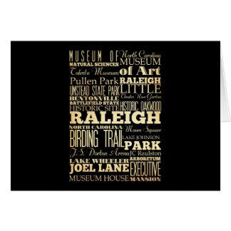 Cartão Cidade de Raleigh da tipografia do estado de North