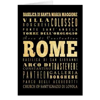 Cartão Cidade de Roma da arte da tipografia de Italia