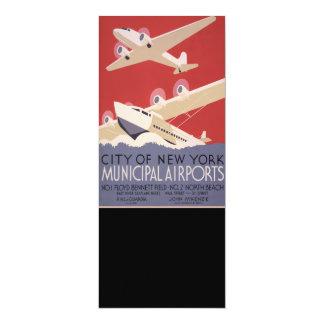 Cartão Cidade retro do poster dos aeroportos | WPA de New