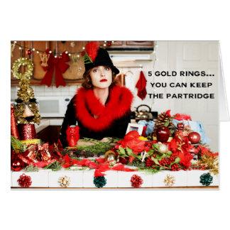 """Cartão """"Cinco anéis de ouro… você pode manter a perdiz """""""