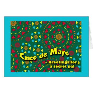 Cartão Cinco de Mayo para o amigo secreto, mosaico